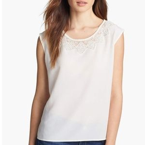 JOIE Milou Embroidered Cap Sleeve Silk Blouse